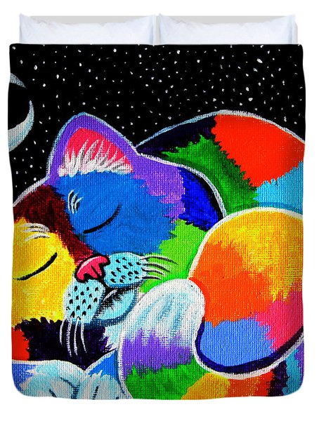 Colorful Cat In The Moonlight Duvet Cover