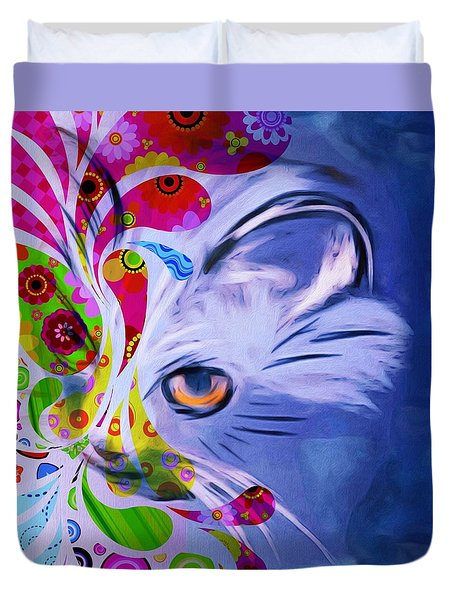 Colorful Cat World Duvet Cover