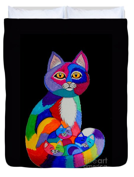 Colorful Cats And Kittens Duvet Cover