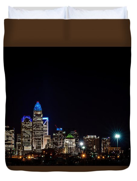 Duvet Cover featuring the photograph Colorful Charlotte, North Carolina Skyline by Serge Skiba