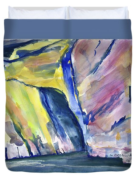 Colorful Cliffs And Cave Duvet Cover