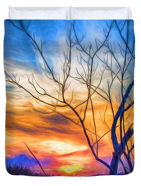 Colorful Cold Sunset Duvet Cover
