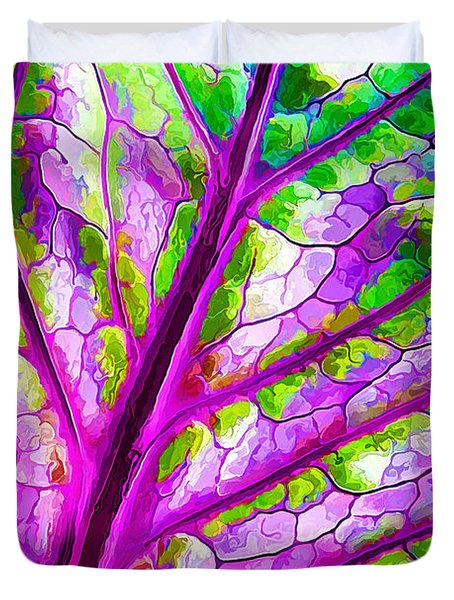 Duvet Cover featuring the digital art Colorful Coleus Abstract 1 by ABeautifulSky Photography