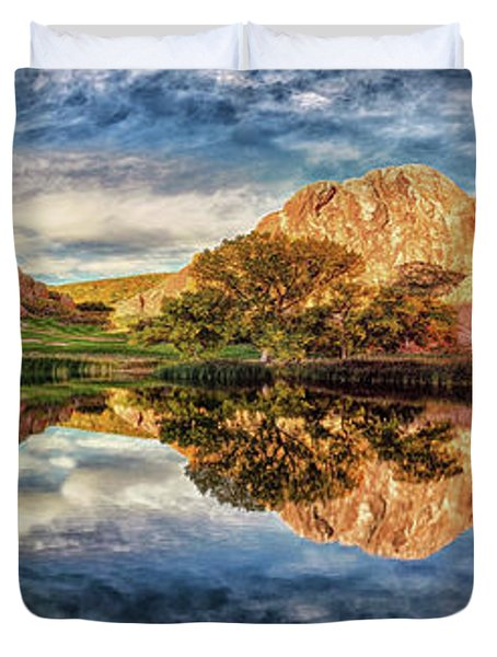 Duvet Cover featuring the photograph Colorful Colorado - Panorama by OLena Art Brand
