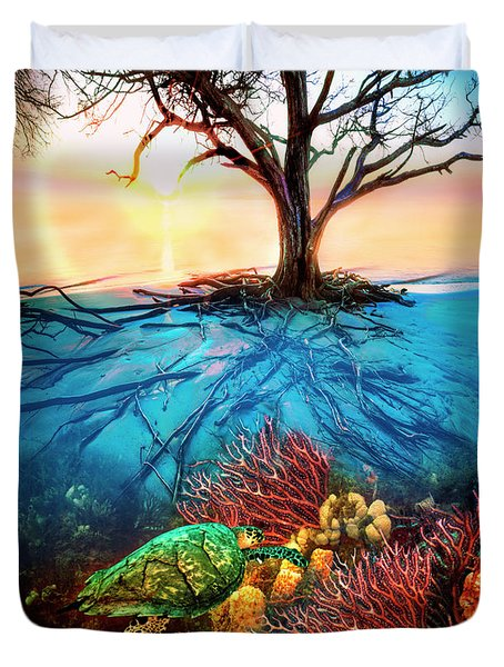 Duvet Cover featuring the photograph Colorful Coral Seas by Debra and Dave Vanderlaan