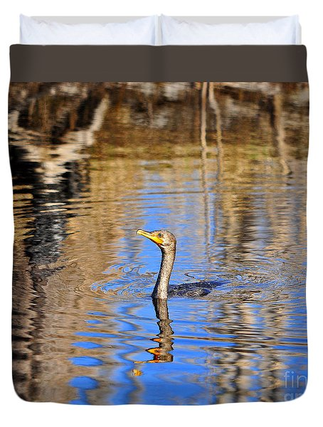 Duvet Cover featuring the photograph Colorful Cormorant by Al Powell Photography USA