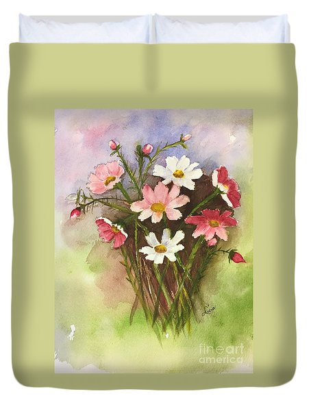 Duvet Cover featuring the painting Colorful Cosmos by Lucia Grilletto