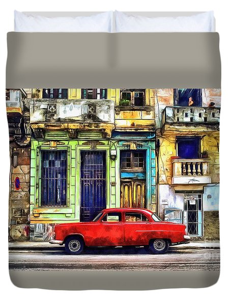 Duvet Cover featuring the painting Colorful Cuba by Edward Fielding