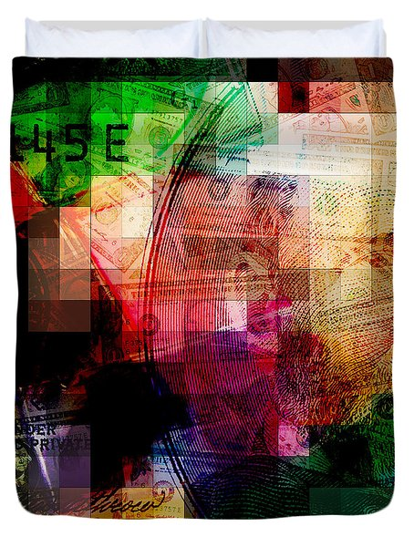 Duvet Cover featuring the photograph Colorful Currency Collage by Phil Perkins