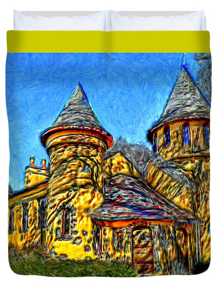 Colorful Curwood Castle Duvet Cover by Bruce Nutting
