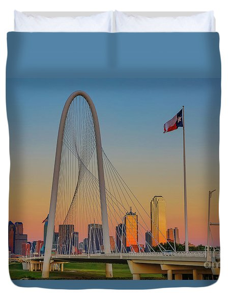 Colorful Dallas Sunset Duvet Cover