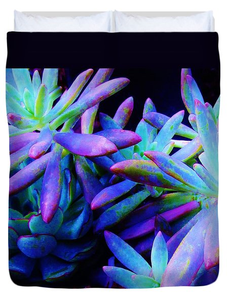 Colorful Dancing Succulents Duvet Cover