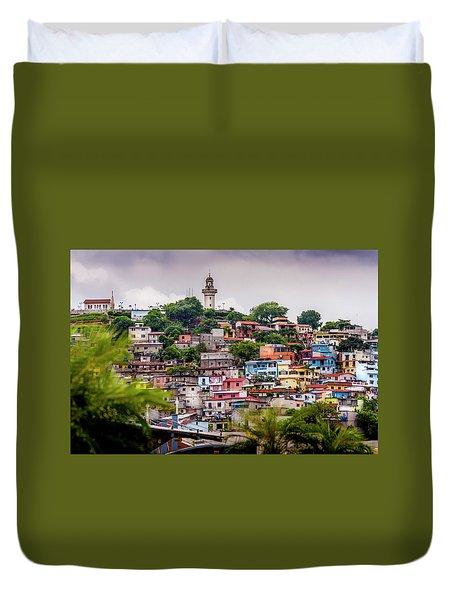 Colorful Houses On The Hill Duvet Cover
