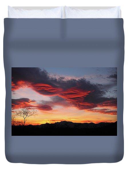 Colorful Dawn Over New Mexico's Peloncillo Mountains Duvet Cover