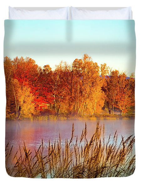 Colorful Dawn On Haley Pond Duvet Cover