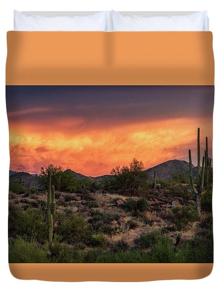 Duvet Cover featuring the photograph Colorful Desert Skies At Sunset  by Saija Lehtonen
