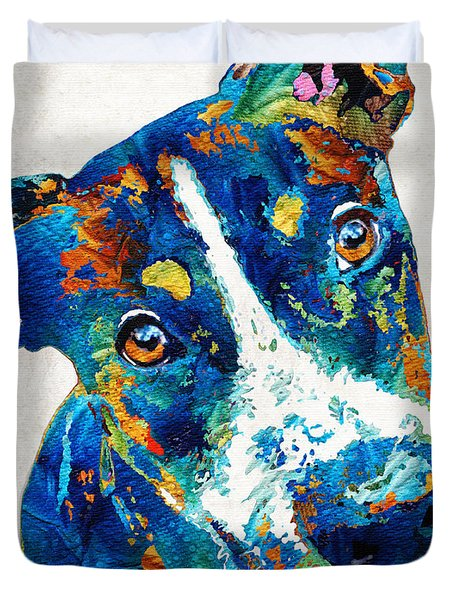 Colorful Dog Art - Happy Go Lucky - By Sharon Cummings Duvet Cover