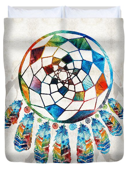 Colorful Dream Catcher By Sharon Cummings Duvet Cover