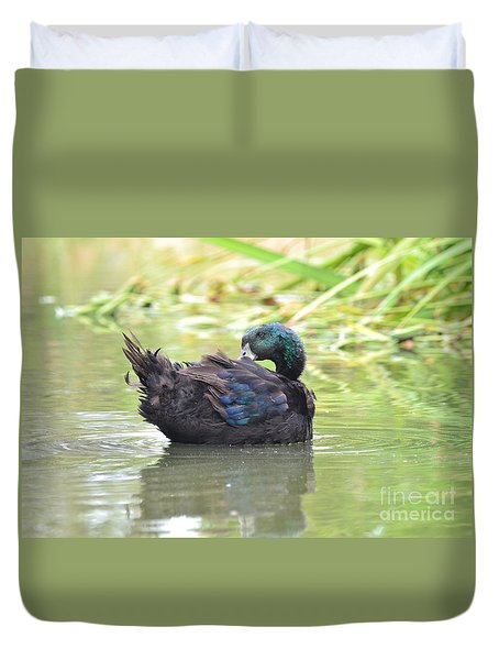 Duvet Cover featuring the photograph Colorful Duck by Laurianna Taylor