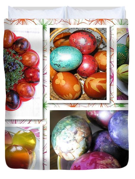 Duvet Cover featuring the photograph Colorful Easter Eggs Collage 07 by Ausra Huntington nee Paulauskaite
