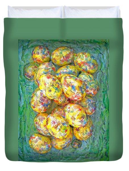Colorful Eggs Duvet Cover by Carl Deaville