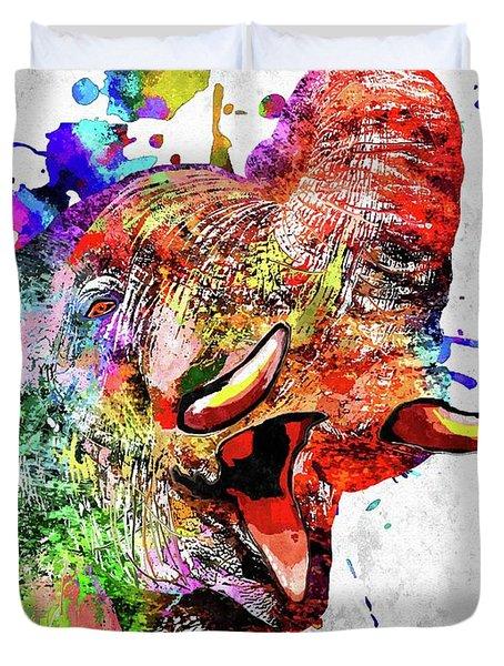 Colorful Elephant Duvet Cover by Daniel Janda