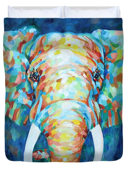 Colorful Elephant Duvet Cover by Enzie Shahmiri