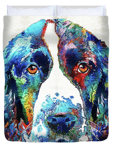 Colorful English Springer Spaniel Dog By Sharon Cummings Duvet Cover