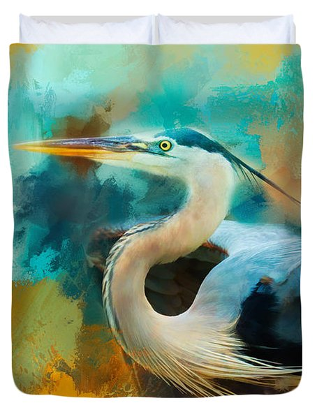Colorful Expressions Heron Duvet Cover