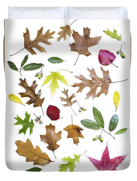 Duvet Cover featuring the photograph Colorful Fall Leaves by Elena Nosyreva