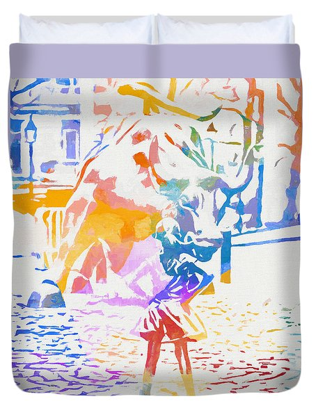 Colorful Fearless Girl Duvet Cover by Dan Sproul