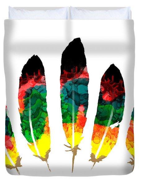 Illustration Feathers Set Duvet Cover