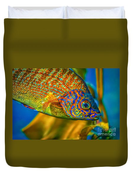 Duvet Cover featuring the photograph Colorful Fish by Mitch Shindelbower