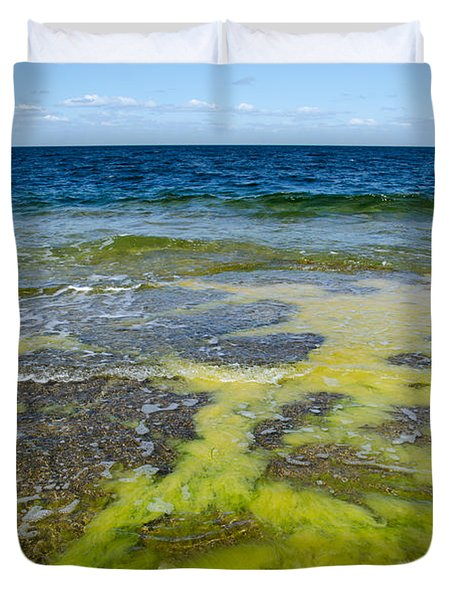 Colorful Flat Rock Coast Duvet Cover