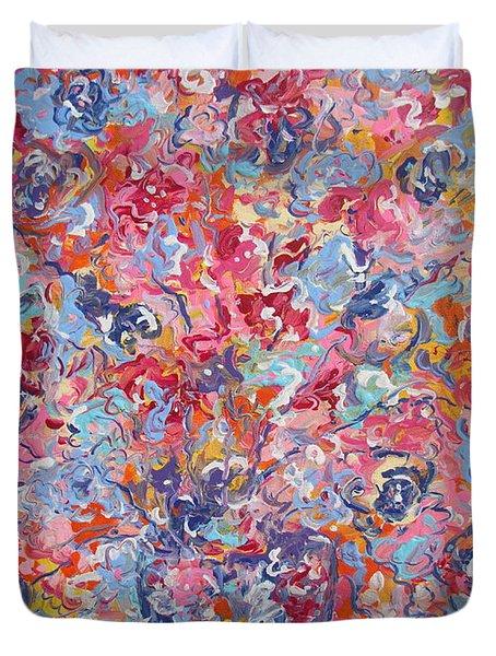 Colorful Floral Bouquet. Duvet Cover