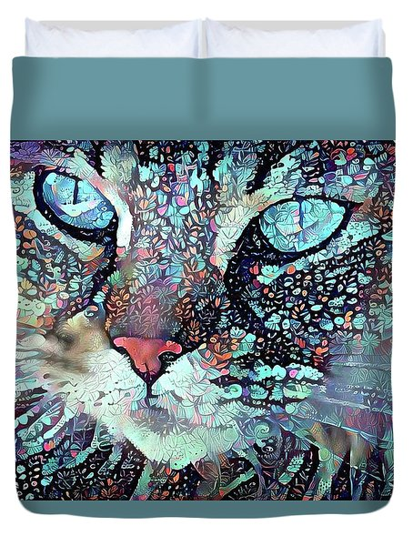 Colorful Flower Cat Art - A Cat Called Blue Duvet Cover