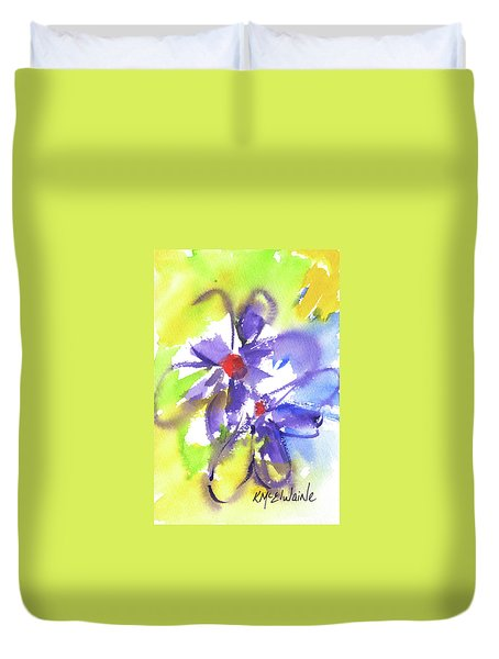 Colorful Flower Duvet Cover by Kathleen McElwaine