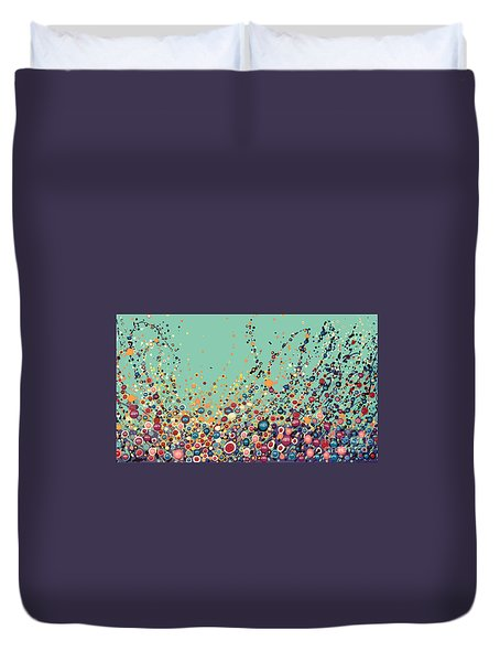 Duvet Cover featuring the painting Colorful Flowers by Maja Sokolowska