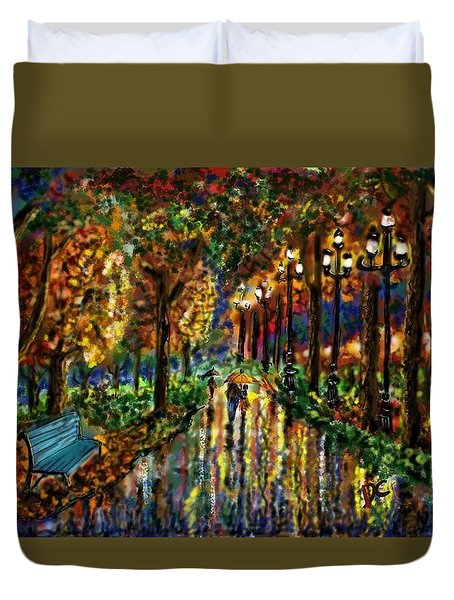 Colorful Forest Duvet Cover by Darren Cannell