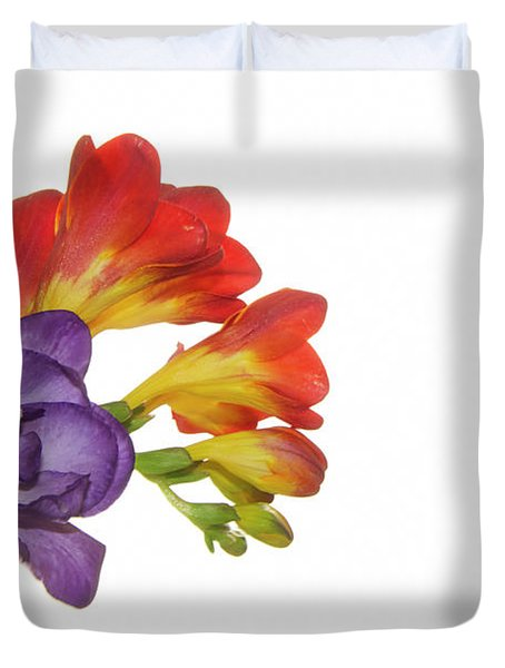 Colorful Freesias Duvet Cover by Elvira Ladocki