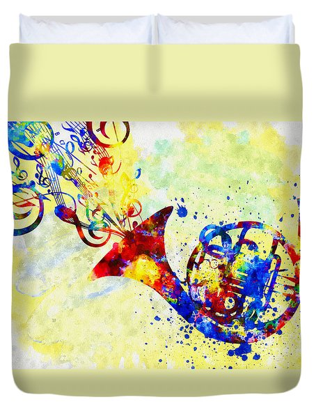 Colorful French Horn Duvet Cover