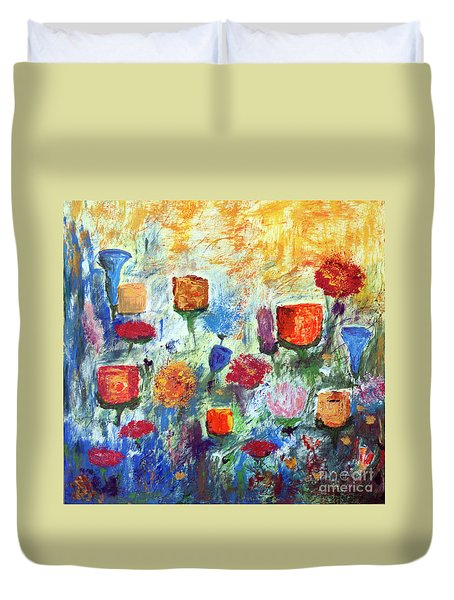 Duvet Cover featuring the painting Colorful Garden by Haleh Mahbod
