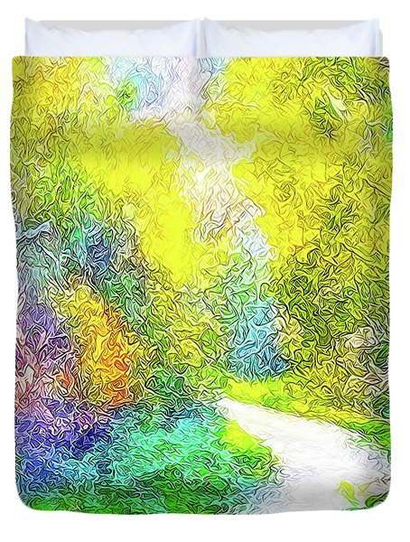 Duvet Cover featuring the digital art Colorful Garden Pathway - Trail In Santa Monica Mountains by Joel Bruce Wallach