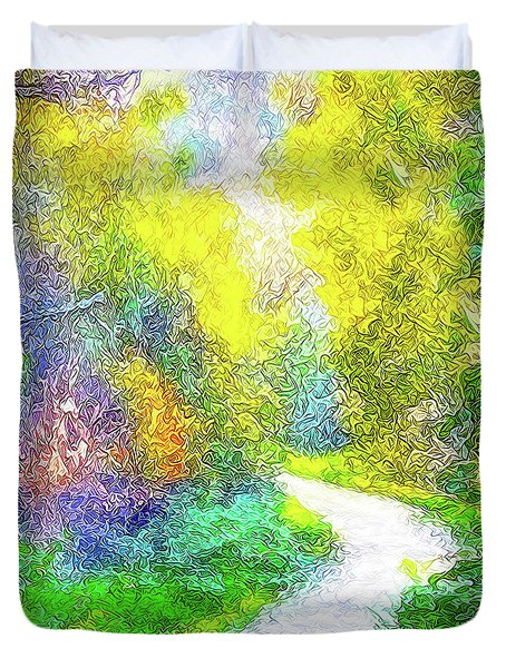 Colorful Garden Pathway - Trail In Santa Monica Mountains Duvet Cover