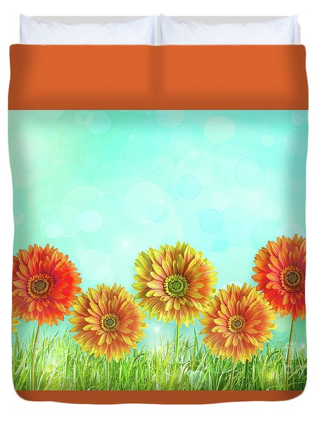 Colorful Gerbers Flowers  Duvet Cover