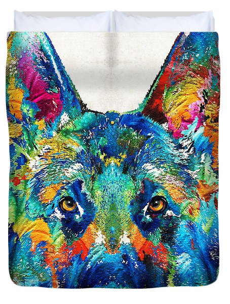 Colorful German Shepherd Dog Art By Sharon Cummings Duvet Cover