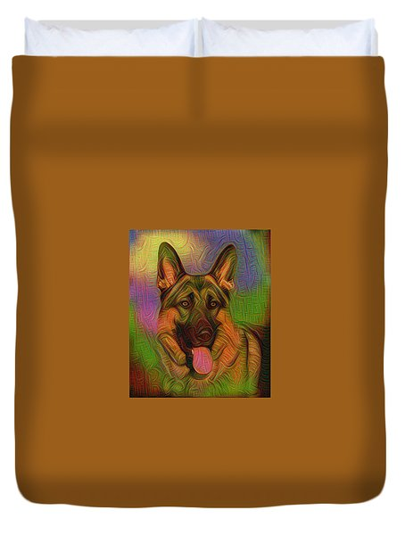 Colorful German Shepherd Duvet Cover