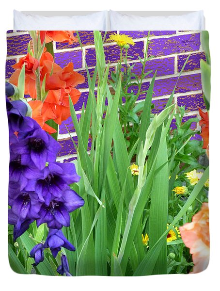 Colorful Gladiolas Duvet Cover
