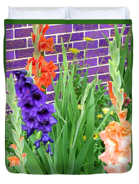 Duvet Cover featuring the pyrography Colorful Gladiolas by Elly Potamianos