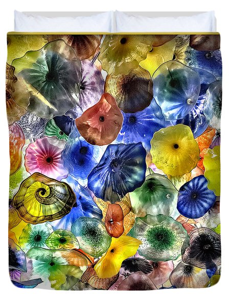 Colorful Glass Ceiling In Bellagio Lobby Duvet Cover by Walt Foegelle